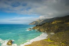 Big Sur California coast. The beautiful Big Sur on the coast of California gives an inspiring shoreline on the Pacific Ocean, which is a popular destination for stock photo