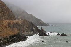 Big Sur, California. Highway 2 along the coastline of Big Sur, California on a foggy day Royalty Free Stock Photography