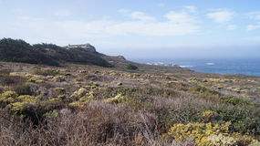 BIG SUR, CALIFORNIA, UNITED STATES - OCT 7, 2014: Hiking path along the Pacific Ocean in Garrapata State Park Royalty Free Stock Photos