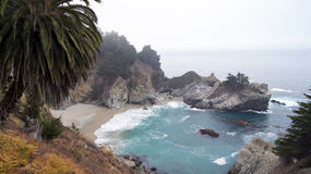 BIG SUR, CALIFORNIA, UNITED STATES - OCT 7, 2014: McWay Falls is an 80-foot waterfall located in Julia Pfeiffer Burns. State Park that flows year-round in CA Royalty Free Stock Images