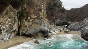 BIG SUR, CALIFORNIA, UNITED STATES - OCT 7, 2014: McWay Falls is an 80-foot waterfall located in Julia Pfeiffer Burns. State Park that flows year-round in CA Royalty Free Stock Photography
