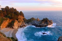 Free Big Sur, California, United States - Sunset At McWay Falls And Secluded Pacific Cove In Julia Pfeiffer Burns State Park Stock Photo - 81052540