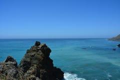 Big Sur Central Coast California gorgeous coastline. Rocky coastline with aqua blue pacific ocean with rock formation and scenic coastal highway 1 Stock Photos