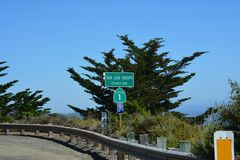 Big Sur Central Coast California gorgeous coastline. Rocky coastline with aqua blue pacific ocean and scenic coastal highway 1 Stock Photos