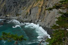 Big Sur Central Coast California gorgeous coastline. Rocky coastline with aqua blue pacific ocean and scenic coastal highway 1. view from ragged point Stock Photography