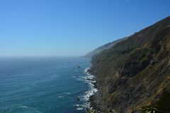 Big Sur Central Coast California gorgeous coastline. Rocky coastline with aqua blue pacific ocean and scenic coastal highway 1. view from ragged point Royalty Free Stock Photography
