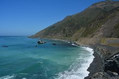Big Sur Central Coast California gorgeous coastline. Rocky coastline with aqua blue pacific ocean and scenic coastal highway 1. view from ragged point Stock Image