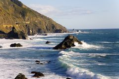 Big Sur Coast. Shot of wave carashing in the late afternoon on California's Big Sur Coast Royalty Free Stock Photo