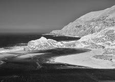 Big Sur coastline. California`s Big Sur coastline, black and white Royalty Free Stock Image