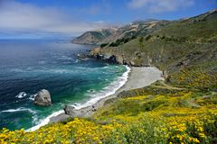 Big Sur from Pacific Coast Highway. Summer time view of the Pacific Ocean from Big Sur off the Pacific Coast Highway Stock Image