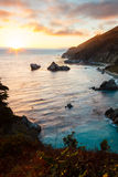 Big Sur. Sunset in Julia Pfeiffer Burns State Park, California Royalty Free Stock Image