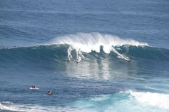 Big Surf Jaws Maui. Paddle in surfers at World famous Jaws Peahi Maui Hawaii Royalty Free Stock Photography