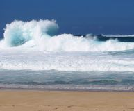 Big surf. Winter storms bring big surf to hawaiian north Stock Image