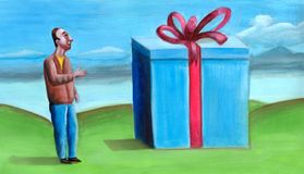 Big surprise. A giant gift box. This is my work Stock Photo