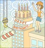 Happy birthday. Big surprise. Celebrate construction. Vector illustration Royalty Free Stock Photos