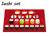 Big sushi and roll set vector illustration