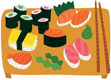 Big Sushi and Sashimi Set on Wooden Tray Stock Photography