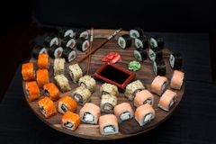 Big sushi set with shrimps, eel and salmon. Royalty Free Stock Images