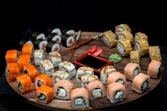 Big sushi set with shrimps, eel and salmon. Royalty Free Stock Photography
