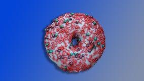 Christmas pink doughnut isolated