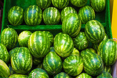 Big sweet green watermelons on turkish market Royalty Free Stock Photos