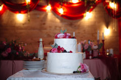 Big sweet multilevel wedding cake decorated with flowers. Concept of candy bar on party Royalty Free Stock Photo