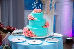 Big sweet multilevel wedding cake decorated with flowers. Concept of candy bar on party.  Stock Photos