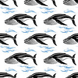 Big swimming cachalots seamless pattern. Big cachalots swimming through blue ocean waves with bubbles seamless pattern on white background for wildlife or Stock Photos