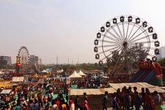 Big swings/giant wheel in Surajkund. Visitors are enjoying at big swings/giant wheel in Surajkund craft fair 2017 royalty free stock photo