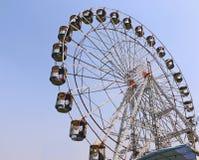 Big swings/giant wheel in Surajkund. Visitors are enjoying at big swings/giant wheel in Surajkund craft fair 2017 stock photography
