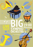 Big Symphonic Orchestra Live Concert Poster. With notes and musical instruments. Timpani, trumpet, horn, tuba, piano, violin vector illustrations. Evening of Stock Images