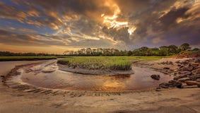 Big Talbot Island. Florida. Nassau County. Sunrise on the salt marshes royalty free stock images