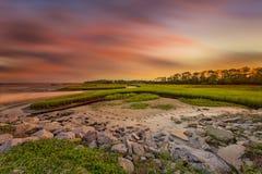 Big Talbot Island. Florida. Nassau County. Sunrise on the salt marshes royalty free stock image
