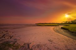 Big Talbot Island. Florida. Nassau County. Sunrise on the salt marshes royalty free stock photo