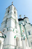 Big tall white orthodox temple with cross on top Stock Photo