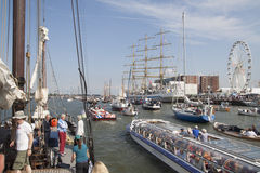 Big tallship on nautical event Sail 2015. AMSTERDAM, THE NETHERLANDS, 20 AUGUST 2015 : People enjoy from the boat of all ships and tall ships during the great Stock Photo