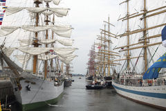 Big tallships in the lockson  nautical event Sail 2015. Port of IJmuiden, The Netherlands - August 23 ,2015 :Tall ships in the locks of IJmuiden after the five Royalty Free Stock Photos