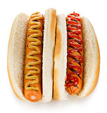 Big tasty appetizing Hot dogs close-up  on a white background. Fastfood.  Stock Image