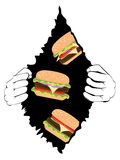 Big Tasty Burger and Hands. Cartoon delicious big tasty burger and human hands, fast food illustration Royalty Free Stock Images