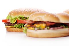 Big and tasty burgers Royalty Free Stock Image