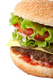 Big Tasty Cheeseburger Close Up. Isolated Stock Photos