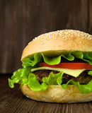 Big tasty cheeseburger Royalty Free Stock Photos