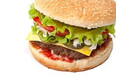 Big Tasty Cheeseburger Isolated Royalty Free Stock Images