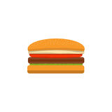 Big tasty cheeseburger on a white background executed in flat style.  Royalty Free Stock Photography