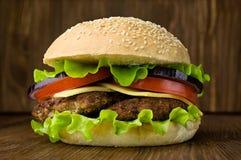 Big tasty cheeseburger Royalty Free Stock Photo