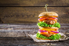 Big and tasty double-decker burger Royalty Free Stock Image