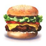 Big tasty haburger, fresh burger with lettuce, cheese, tomato, meat, onion, bun, fast food, isolated, hand drawn vector illustration
