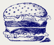 Big and tasty hamburger. Doodle style. Vector Royalty Free Stock Images