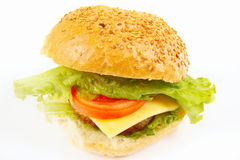 Big tasty hamburger with cheese close up on white background Stock Photography