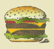 Big and tasty hamburger Stock Images